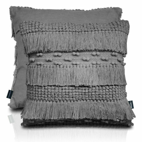 43cmx43cm Rocco Zen Grey Tasselled Cotton Cushion stunning Item