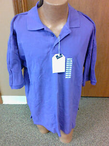 Mens button up collared short sleeve polo shirt nwt purple for Mens 5x polo shirts