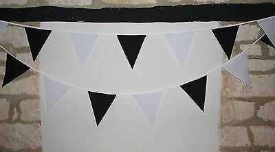 New Handmade Fabric Bunting- Choice of colours and white- 30 flags per Banner