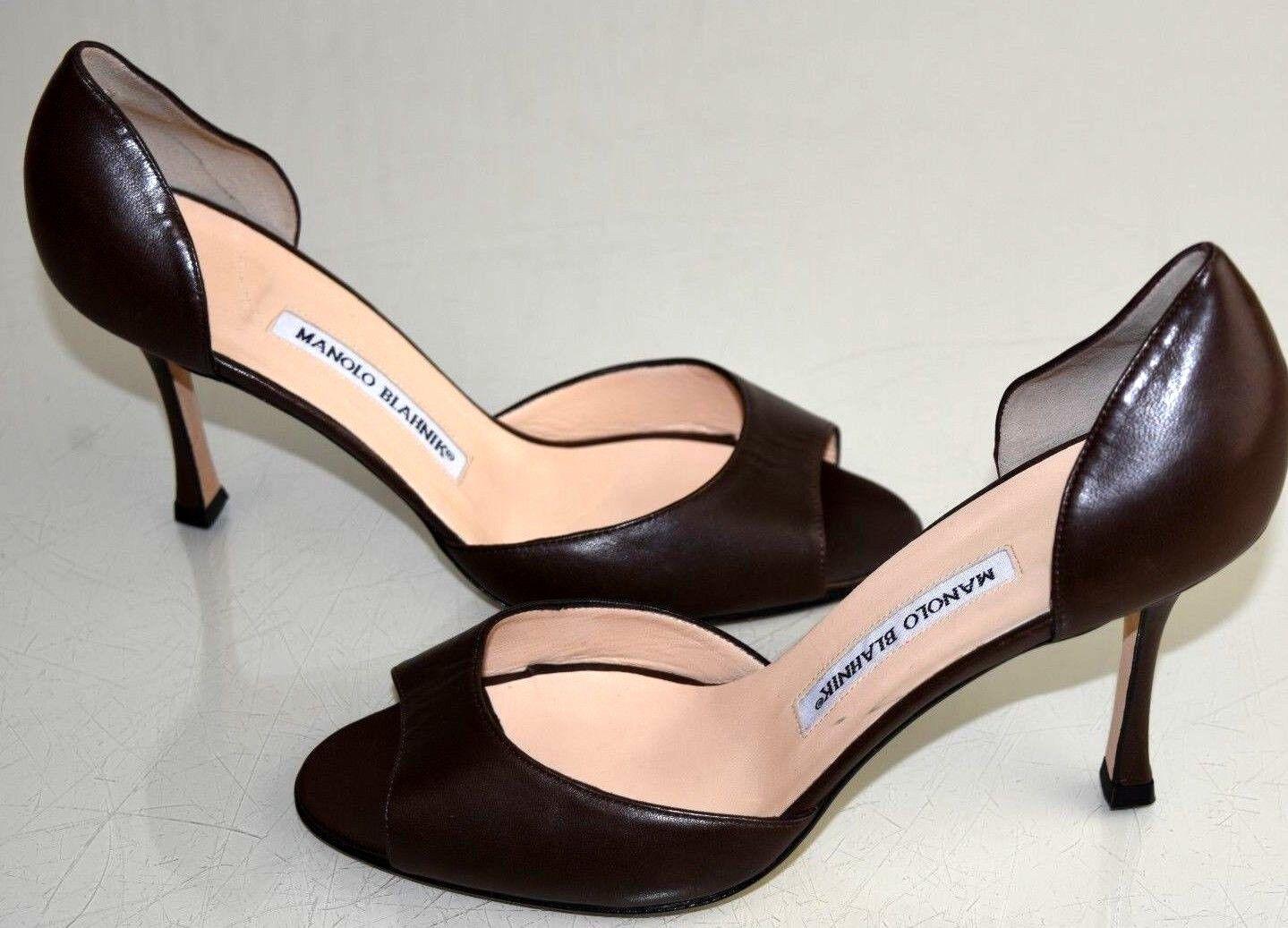 NEW Manolo Blahnik ASTUTADO Dorsay Pumps Chocolate Brown Leather Heel shoes 38.5