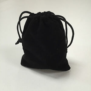 5 x VELVET GIFT POUCH SMALL BLACK DRAWSTRING BAG JEWELLERY WEDDING FAVOR BEADS
