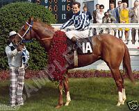 SECRETARIAT 1973 KENTUCKY DERBY WINNER RON TURCOTTE 8X10 PHOTO ROSES