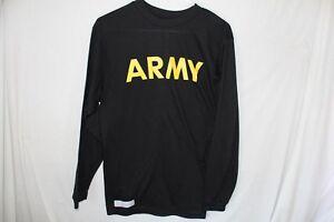 Army-Physical-Fitness-Shirt-Black-APFU-Polyester-Medium-PT-Long-Sleeve