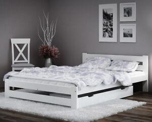 White Wooden Bed Frame 3ft 4ft 4ft6 5ft Kingsize Single Double Size
