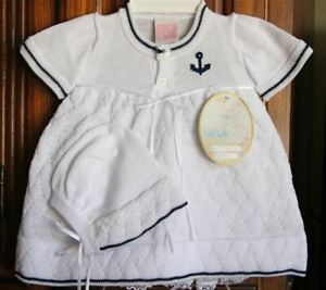Will'beth Infant Newborn Baby Girl Nautical Knit Dress Set Bonnet NWT Sz0 Dolls