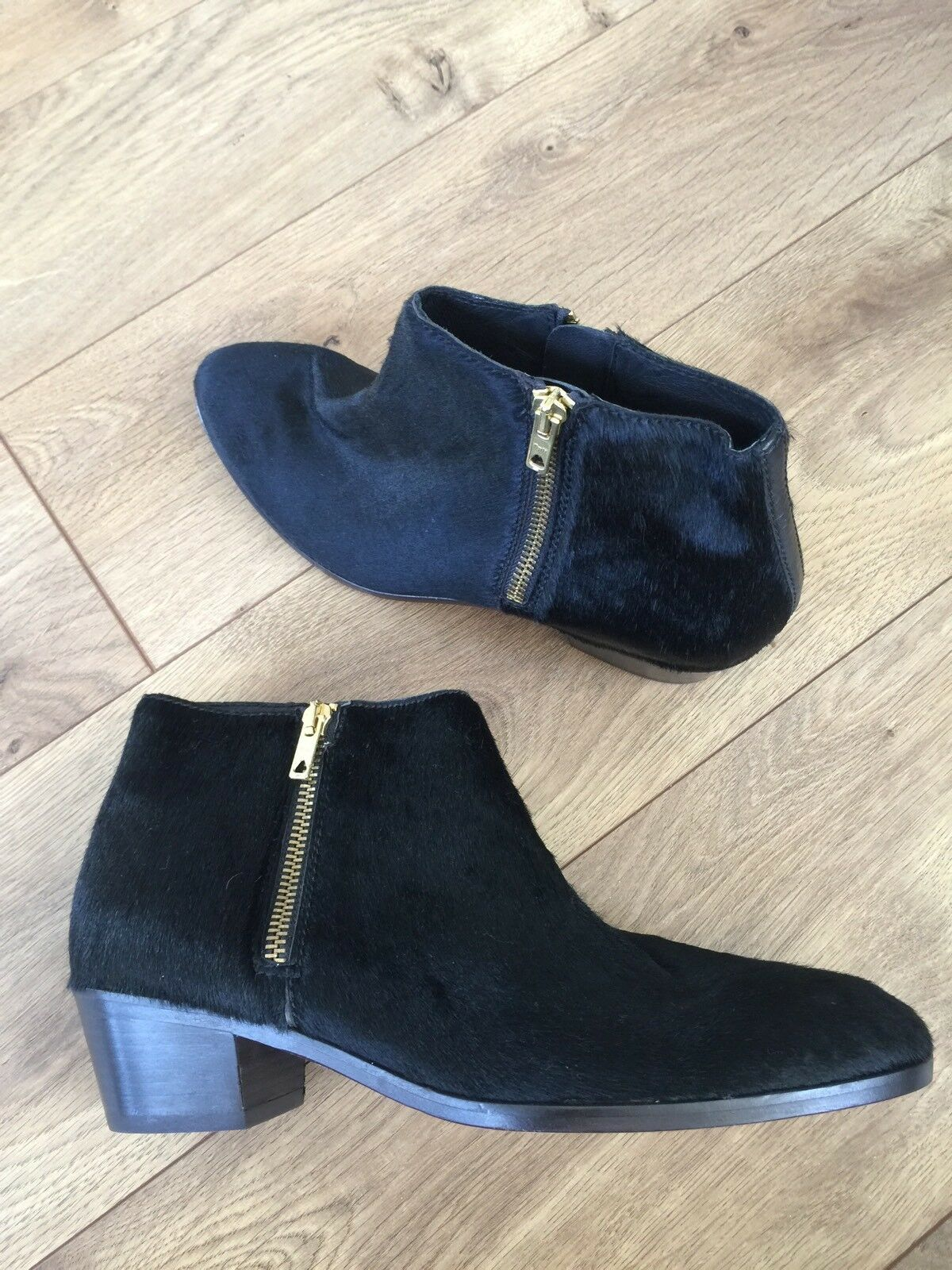 NEW J.CREW COLLECTION REMI CALF HAIR B0945 DOUBLE-ZIP ANKLE BOOTS SIZE 7M BLACK B0945 HAIR f34510