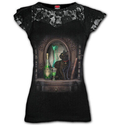 Spiral Direct ABSINTHE Womens Lace Layered Cap Sleeve Top Fairy Cat Witchcat