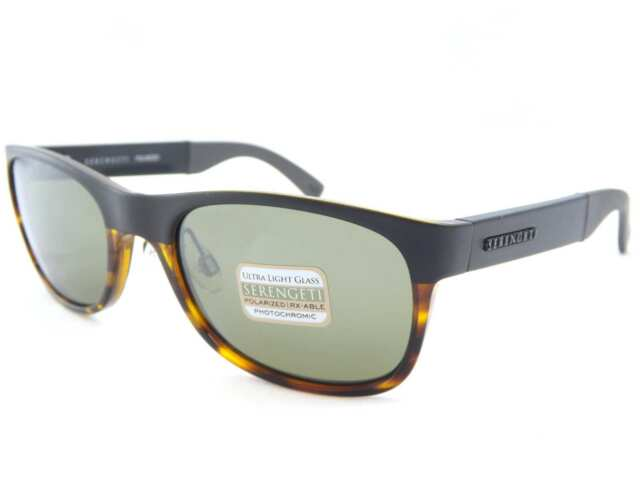 SERENGETI polarized photochromic PIERO sunglasses SATIN BLACK TORT/ Green 7640