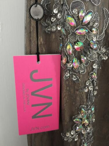 NWT JVN Jovani 98865 Gunmetal Silver Gray Prom Formal Dress Gown $398  0 2 1538