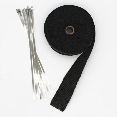 Exhaust Manifolds Fiberglass Heat Wrap Tape Thermal Wrap Black 1.5/'/' X 5M /& Ties