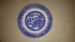 VINTAGE-WASHINGTON-OLD-WILLOW-PATTERN-DINNER-PLATE-10-INCHES