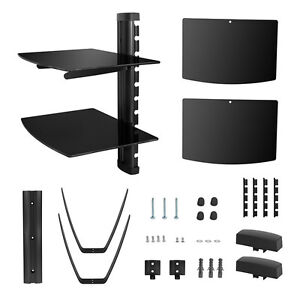 2-Tier-Glass-Shelf-Wall-Mount-Bracket-for-DVD-Players-Cable-Boxes-V02-US-Seller