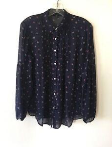 Lauren-Ralph-Lauren-Silk-Tunic-Blouse-Semi-Sheer-Bell-Sleeve-Women-039-s-M