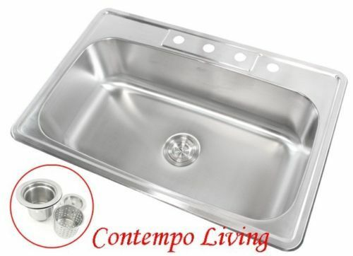 33 X 22 X 9 Deep Top Mount Drop In Stainless Steel Single Bowl Kitchen Sink