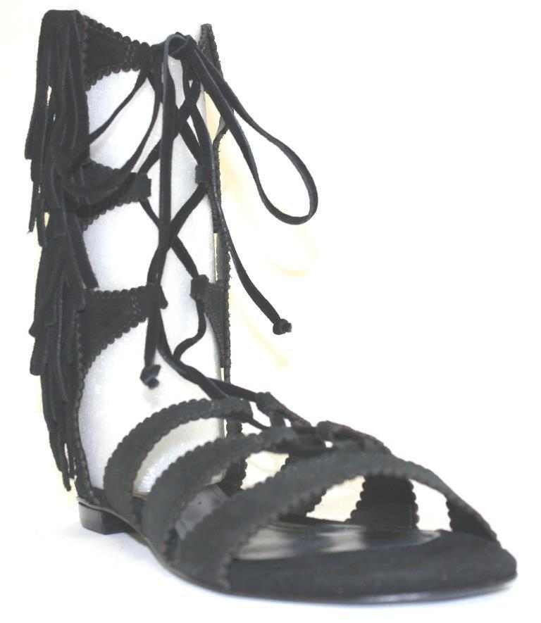 Women's Shoes Schutz SONYA Flat Gladiator Sandals Side Fringe Detail Suede BLACK