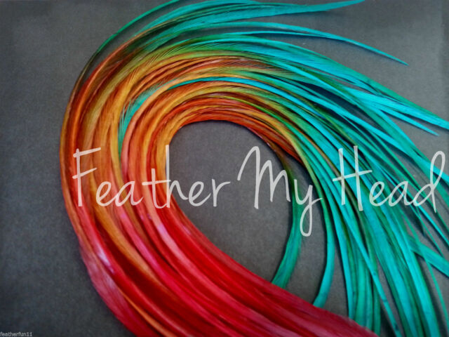 10 Ombre Tie Dye Feather Hair Extension Real Rooster Feathers In