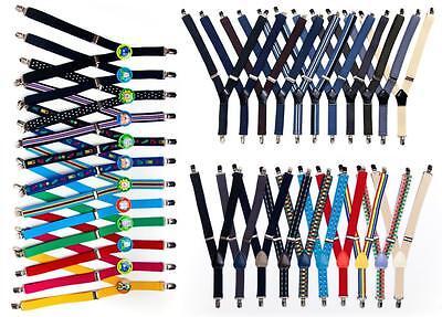 Kinder Hosenträger 4-Clips Design Stretch Kinderhosenträger Schwarz 1-6 Jahre