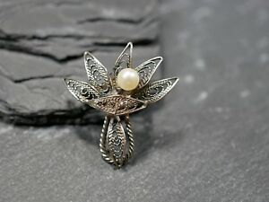 Wunderbare-Modeschmuck-Brosche-Silber-Filigran-Jugendstil-Art-Deco-Vintage-Edel