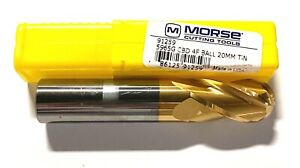 """Morse 5//8/"""" Carbide Ball End Mill Tin Coated Extended Length 4 Flute USA Made"""