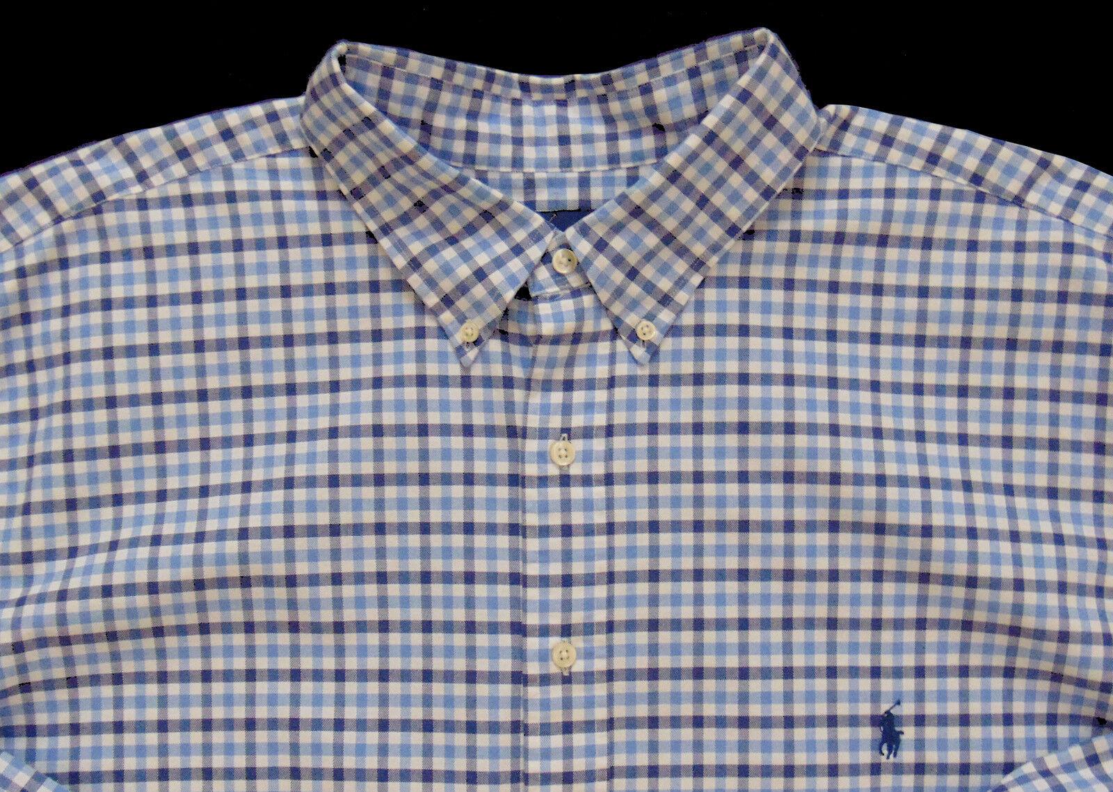 Men's RALPH LAUREN White bluee Pinpoint Oxford Plaid Shirt 3X 3XL 3XB BIG NWT NEW