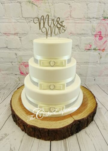 WEDDING CAKE BRIDAL WHITE DIAMANTE TOPPERS MR /& MRS LOVE HEARTS CAKE SETS