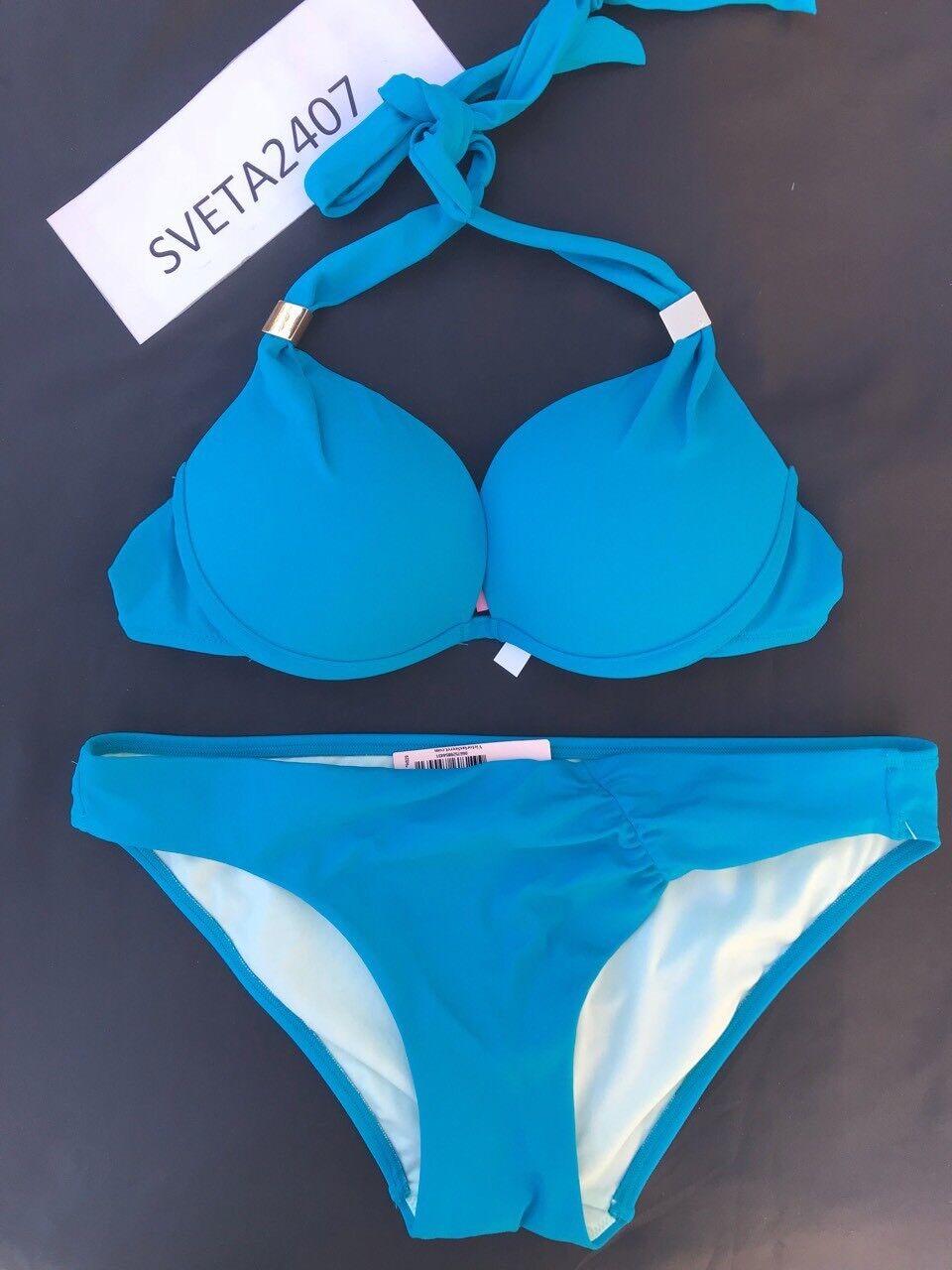 Victoria's Secret BikiniHottie+1Cup Halter Ruched CheekyDeep Turquoise34B M