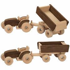 Holzspielzeug Traktor mit Anhänger Gespann Auto Fahrzeug Spielauto Bauernhof goki NEU!