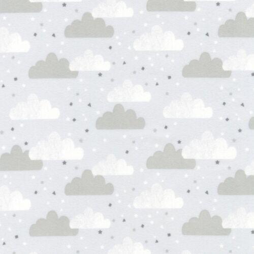Tissu Bébé nuageux Rainy Day gris sur gris flanelle by the 1//4 Yard