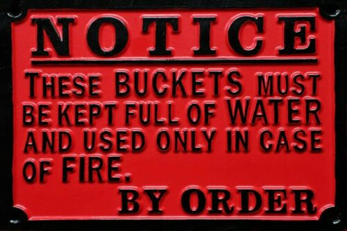 printed /& smooth not embossed Railway Fire Buckets Vintage style Metal Sign NB