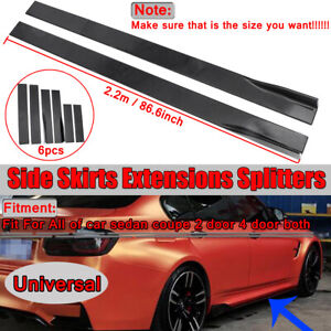 CAR-SIDE-SKIRT-EXTENSION-BLADES-GLOSS-BLACK-UNIVERSAL-FOR-BMW-AUDI-VW-FORD-2-2M