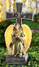 God's Love in Garden ** LIGHTED LED FAUX STONE & BLESSED CROSS SOLAR LIGHT** NIB