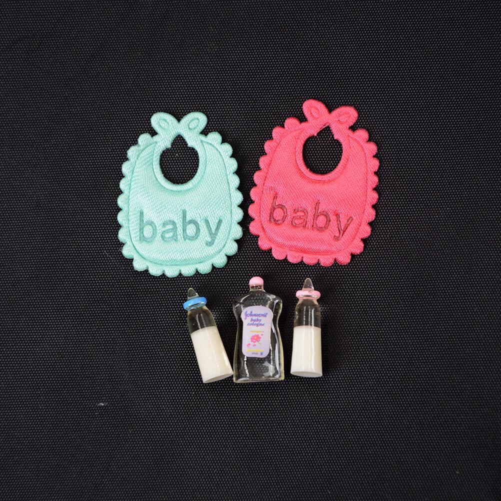 1:12 casa de muñecas en miniatura de botellas de bebé Champú Baberos Set Vivero Accesorio DSUK