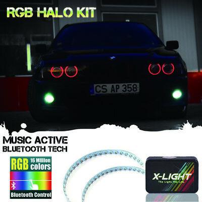 2x RGB LED Demon Eye Halo Ring Headlight Projector Lens Bluetooth Remote Control