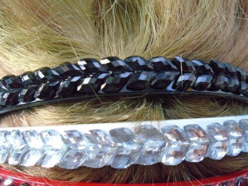 Pack 2 coloured hair alice bands diamante rhinestone plastic headband band stone