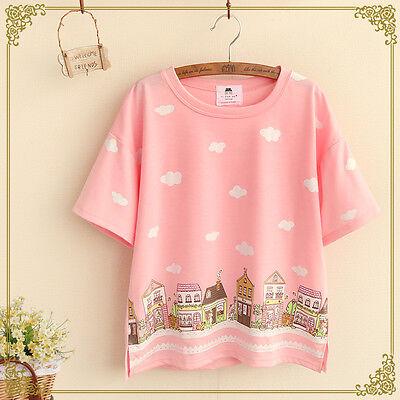 T-shirt Sweet Lolita short sleeve New Summer Japanese Cute printing Loose Tops