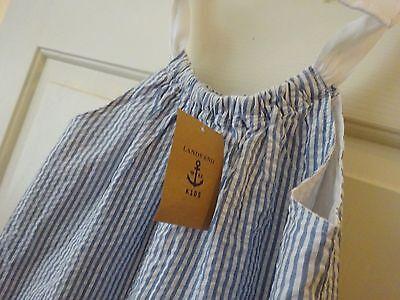 New Lands' End Blue White Stripe Seersucker Bow Ribbon Tie Sundress Dress Sz 6 $