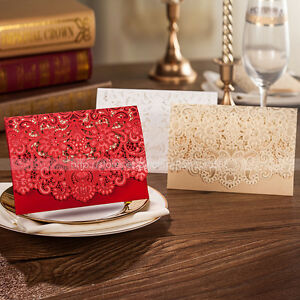 Laser Cut-out Pretty Floral Design Wedding Invitations Cards And Envelopes,Seals