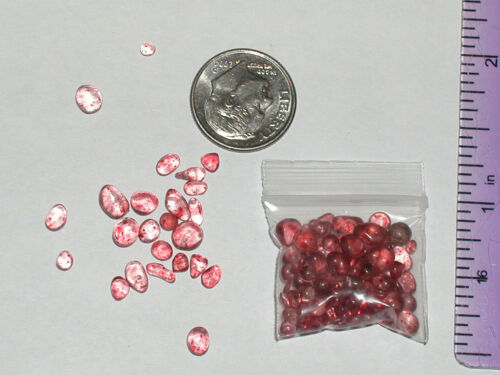 50 tiny Miniature Glass Moon Pebbles Coral orange red color Mix sizes