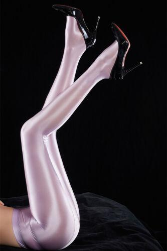 Plus Women Shiny Wet Look Pantyhose Satin Glossy Semi Opaque Tights Stockings