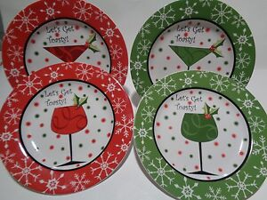 222-FIFTH-Set-of-4-Holiday-Christmas-Plates-Cocktails