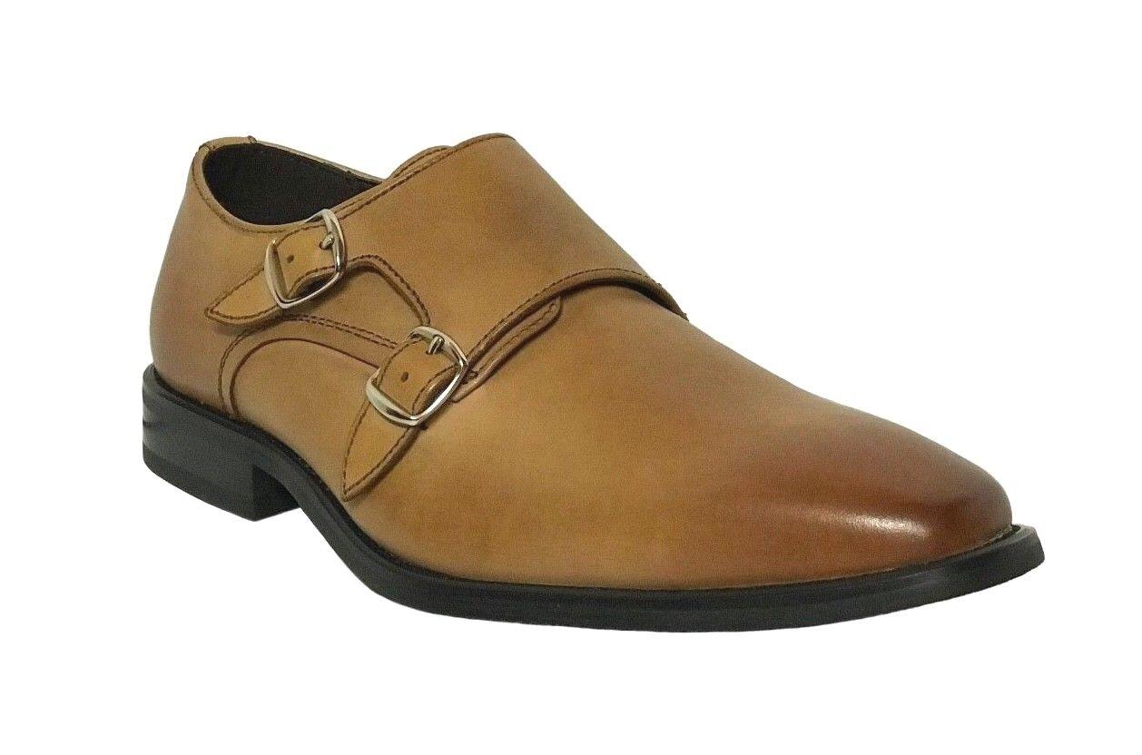 La Milano Men's Leather Cognac Double Monk Strap Shoes Cognac Leather A11321 e8c563