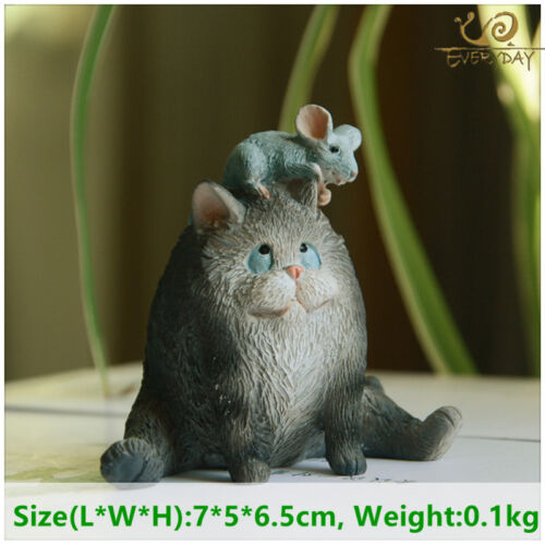 Cat And Mouse Statue Figurine Ornament Home Garden Decor