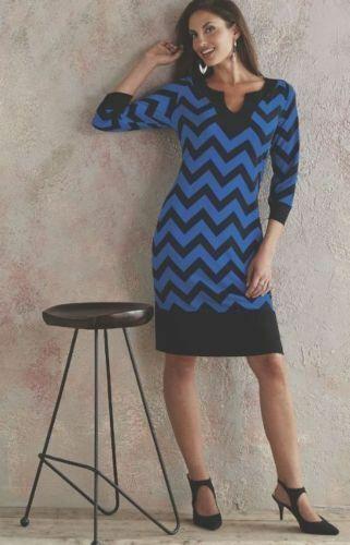Midnight Velvet Black Blue Chevron Striped Slimming Dress Size 3X 24W 26W PLUS