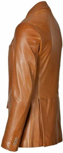 Men/'s Genuine Lambskin Leather Blazer TWO BUTTON Coat Classic Jacket #110