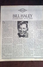 BILL HALEY TRIBUTE  ARTICLE / clipping from Rolling Stone 1981
