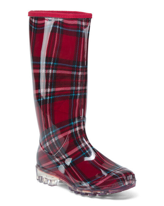 NEW    Henry Ferrera Plaid High Shaft Rain Boots for Rain & Winter  Sz 7M