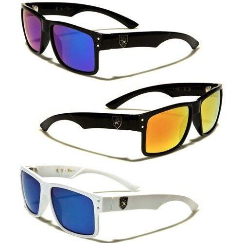 Khan retrò anni/'80 MEN/'S SQUARE Fashion Occhiali da Sole Lenti a Specchio Colore Nero Bianco