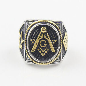 Gold Plated Oval Freemason Jewelry Motor Cycles Biker harley
