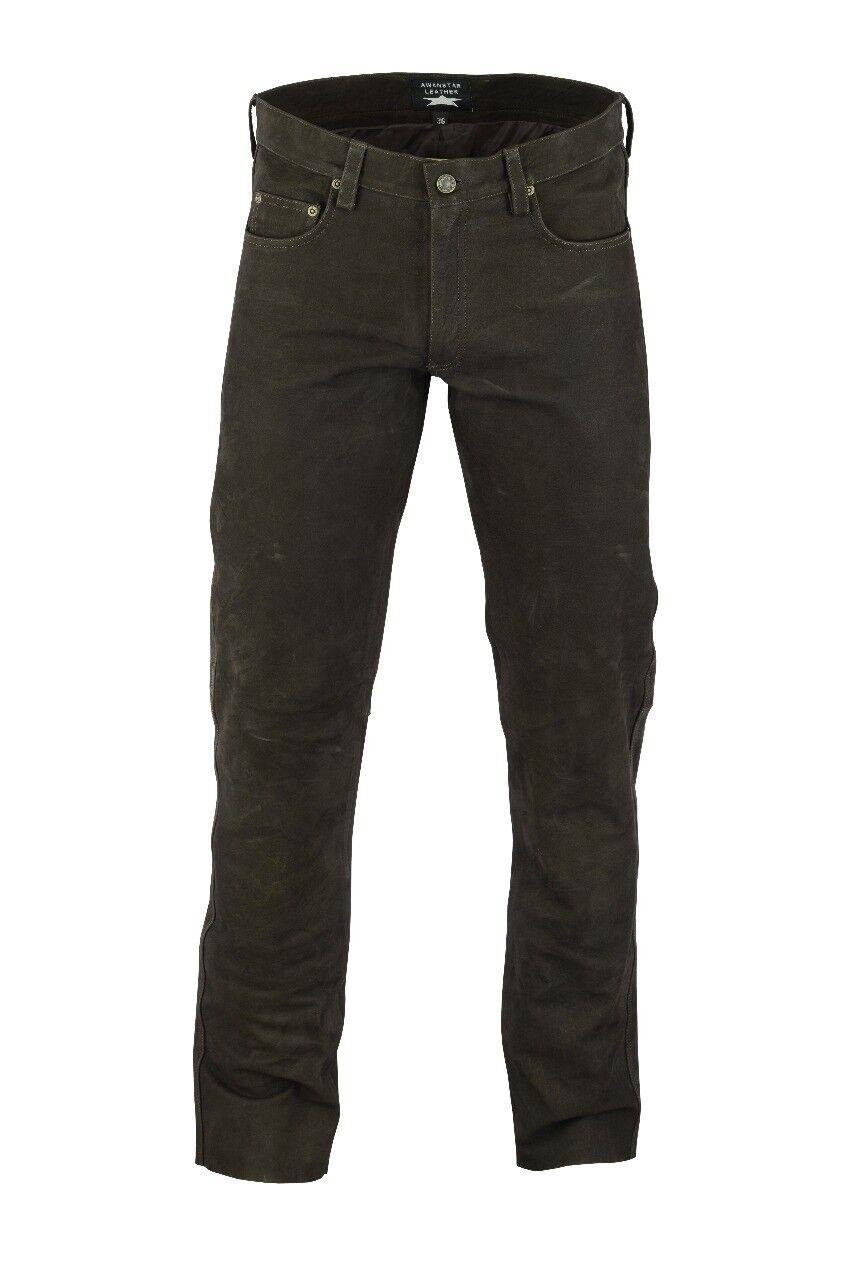 AWANSTAR-701 Lederhose Nubukhose leather Trousers Nubuk leder hose 30-40 Waist