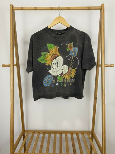 VTG Mickey Mouse Sun Garden Sun Faded Cropped T-Sh